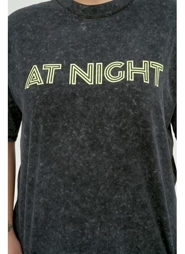 Luokk Bılly Bol Kesim Baskılı T-Shirt Antrasit